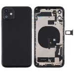 Battery Back Cover Assembly (with Side Keys & Power Button + Volume Button Flex Cable & Wireless Charging Module & Motor & Charging Port & Loud Speaker & Card Tray & Camera Lens Cover) for iPhone 11(Black)
