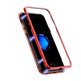 Detachable Metal Frame Magnetic Case with Tempered Glass Rear for Apple iPhone X / Xs - Color: Red