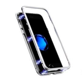Detachable Metal Frame Magnetic Case with Tempered Glass Back for Apple iPhone X / Xs - Color: Silver