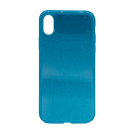 Glittering Silicone Back Case for Apple iPhone X / XS - Color: Turquoise