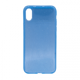 Glittering Silicone Back Case for Apple iPhone X / XS - Color: Blue