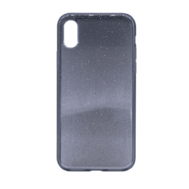 Glittering Silicone Back Case for Apple iPhone X / XS - Color: Black